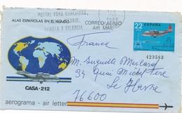 ESPAGNE - AEROGRAMME CAD 7/1/1984 POUR LE HAVRE FRANCE - Entiers Postaux