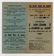 43 - TENCE - LES RAPID' BLEUS DU LIGNON - HORAIRE BUS AUTOCAR DE 1937 - SAINT ETIENNE - LE CHAMBON SUR LIGNON - Transports