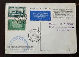 MAROC N°132+136 Sur Carte Postale AIR FRANCE. Par Avion DE L'AERO-CLUB DU MAROC 16/12/1937 - Morocco (1891-1956)