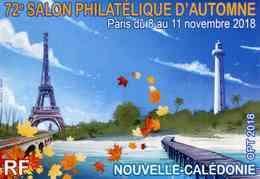 """Entier Postal De 2018 Sur CP Avec Timbre Et Illust. """"72e SALON PHILATELIQUE D'AUTOMNE - Paris Du 8 Au 11/11/18"""" - Interi Postali"""