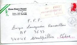 Lettre Recommandee Vias Sur Vignette Machine  Liberté - Marcophilie (Lettres)