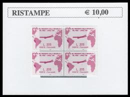 Erinnofilo - 1961 Visita Del Presidente Gronchi In Argentina/Uruguay/Perù Lire 205 Lilla Rosa (Quartina) - Erinnofilia