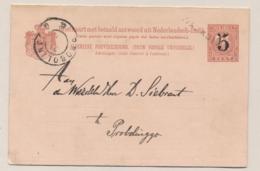 Nederlands Indië - 1908 - 5+5 Op 7,5+7,5 Cent Cijfer, Briefkaart G19b Van L WALIKOEKOEN Naar GR Probolingo - Nederlands-Indië