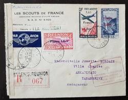 REUNION N°188+223+PA2 Sur Lettre. Censure Militaire. Départ 21/12/43, CACHET FORCES FRANCAISES COMBATTANTES (voir Descri - Reunion Island (1852-1975)