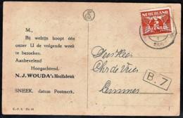 NEDERLAND SNEEK Reclamekaart WOUDA Meelfabriek 1925 - Periode 1891-1948 (Wilhelmina)