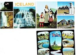 Lot 3 Cpm - Islande - ICELAND - Reykjavik - Floklore Drapeau Costume Femme Fillette Monument - Islande