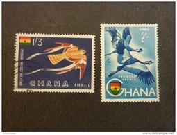 GHANA, Année 1959, Poste Aérienne, YT N° 5 Et 6 Oblitérés - Kraanvogels En Kraanvogelachtigen