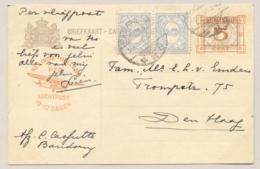 Nederlands Indië - 1931 - 5 Op 7,5 Cent Cijfer, Briefkaart G51b + 10 Cent Per Vliegpost Van Bandoeng Naar Den Haag - Nederlands-Indië