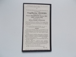 Oud Bidprentje: Engelbertus OLDERS, Wwr F.MALLEBRANCKE, F.MONSTREY,R.PYRA Echtg. Juliana LANNOYE Ghistel 17/3/1858 - Bre - Obituary Notices