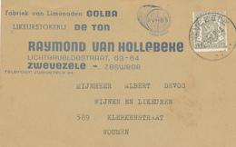 688/27 - Carte Privée IMPRIME TP Petit Sceay ZWEVEZELE 1948 - Entete Likeurstokerij De Ton , Limonaden Golba - 1929-1937 Lion Héraldique