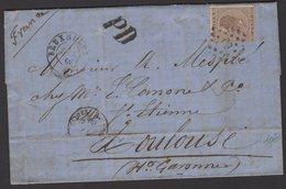 Pli De B 1869 Avec 30c Leopold 1° Obl Los PC 60 + CàDate BRUXELLES +PD Pour TOULOUSE - 1830-1849 (Belgique Indépendante)