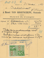 694/27 - Carte Privée - Relevé De Compte + TP Fiscal  1940 - OSTENDE Poissons Frais En Gros Van Graefschepe - Revenue Stamps