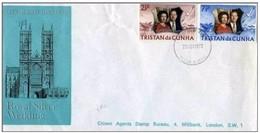 TRISTAN DA CUNHA - 20 11 1972 BUSTA FDC ANNIVERSARIO 25° MATRIMONIO REALI INGHILTERRA - Tristan Da Cunha