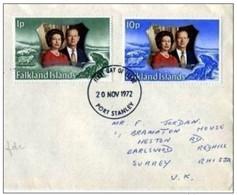 FALKLAND ISLANDS - 20 11 1972 BUSTA FDC ANNIVERSARIO 25° MATRIMONIO REALI INGHILTERRA - Falkland