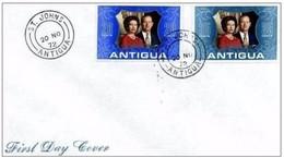 ANTIGUA - 20 11 1972 BUSTA FDC ANNIVERSARIO 25° MATRIMONIO REALI INGHILTERRA - Antigua E Barbuda (1981-...)