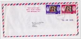 BERMUDA - 20 11 1972 BUSTA FDC ANNIVERSARIO 25° MATRIMONIO REALI INGHILTERRA - Bermuda