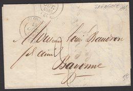 Pli De SARAGOCE1845 En Port Du 3 Décimes Obl CàDate Type 14 De OLORON (pli Acheminé)  Pour BAYONNE - Marcophilie (Lettres)