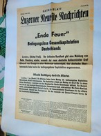 LUZERNER SUPPLEMENT LUNDI 7 MAI 1945 FIN DU FEU CAPITULATION TOTALE ALLEMAGNE 4 PAGES PHOTOS HITLER  HIMMLER CHURCHILL.. - Revues & Journaux