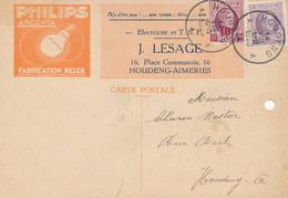 700/27 - LAMPES - Carte Illustrée PHILIPS Argenta - TP Houyoux HOUDENG 1928 - Electricité Et TSF J. Lesage - Timbres