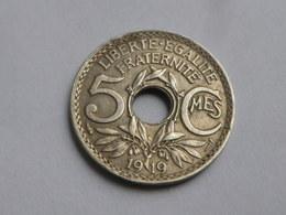 France  5 Centimes 1919  Lindauer   Cupronickel  Grand Module  Km# 863         TTB+ - France