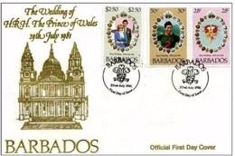 BARBADOS-1981 BUSTA FDC PER IL MATRIMONIO DI DIANA E CARLO D'INGHILTERRA - Barbados (1966-...)