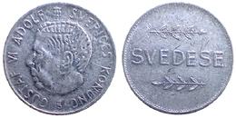 01819 GETTONE TOKEN JETON FICHA PLAY TOKEN TESORO RICREATIVO SVEDESE GUSTAF VI ADOLF SVERIGES KONUNG ALU - Italie
