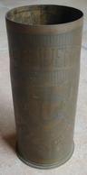 Douille D' Obus De 65 - Sculptée Souvenir D' ALSACE 1914 - 1915  (  Objet De Poilus  ) - Armes Neutralisées