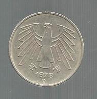 Monnaie , Allemagne , 5 Mark , 1978 D , 2 Scans - [ 6] 1949-1990 : RDA - Rép. Démo. Allemande