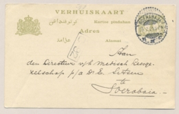 Nederlands Indië - 1921 - 1 Cent Cijfer, Verhuiskaart G3a  Lokaal Gebruikt Soerabaja - Nederlands-Indië