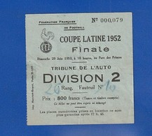 Ticket Football  1952  PARC DES PRINCES  BARCELONE  Bat NICE    Tribune De L'auto  ( Très Très Bonne TENUE ) Ti 100 - Tickets - Entradas