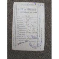 Ticket Rationnement Carte Vetement Article Textile - Collections