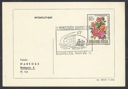 Chess, Hungary Debrecen,, 10.08.1969, Cancel On Card - Schaken