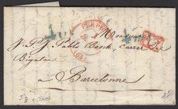 PYRENEES ORIENTALES: Pli De 1841 De PERPIGNAN En Port Payé Avec Cà Date Type 13 Rouge + PP + Taxes 4Rl 4Mil P BARCELONE - Marcophilie (Lettres)