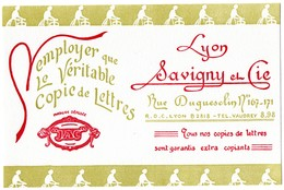 Buvard Savigny Et Cie. Imprimeur à Lyon, Copie De Lettres. - Papeterie