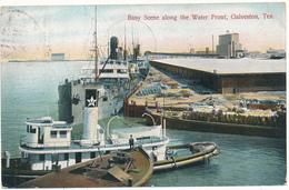 TX - GALVESTON - Busy Scene Along The Water Front - Galveston