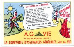 Buvard Assurances A.G. Vie. Illustration : La Cigale Et La Fourmi. - Banque & Assurance