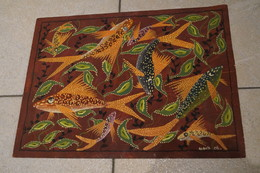Superbe Dessin Aquarelle , Peinture ART AFRICAIN Originale,signé Kabuya Cel.46 Cm. / 35 Cm. - Huiles