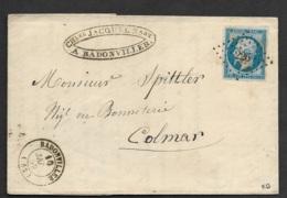 Meurthe-Lettre (Fabrique & Filature De Laine)-PC 226 De Badonviller Sur N°14A-Pour Colmar - Marcophilie (Lettres)