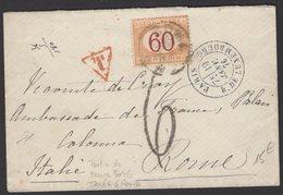 PARIS: Pli De 1876 De PARIS En Port Du Avec Cà Date PARIS R. DE LUXEMBOURG + T Rouge + 6 + Timbre Taxe 60 Cmi P ROME - Marcophilie (Lettres)