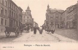 BASTOGNE BASTENAKEN CA. 1910 PLACE DU MARCHE ATTELAGE DE CHIEN HONDENKAR - ED. 1448 G.H.A. - Bastogne