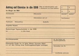 Antrag Auf Einreise In Die DDR - Faire-part