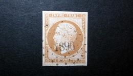 FRANCE 1853 N°13I OBL. LOSANGE PC 1896 (NAPOLÉON III. SECOND EMPIRE. 10C BISTRE. LÉGENDE EMPIRE FRANC. NON DENTELÉ. TYPE - 1853-1860 Napoléon III