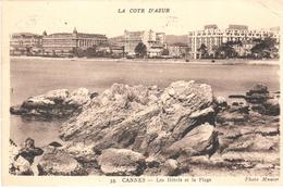 POSTAL   CANNES  -FRANCIA  -LES HÔTELS ET LA PLAGE  (FOTO MUNIER) - Cannes