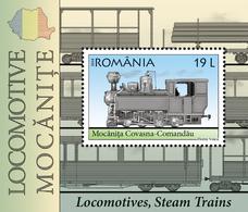 Romania 2018 / Locomotives, Steam Trains, S/S - Trains