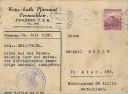 Freiwaldau Sudetenland 14.7.1938 Pfarramt Taufschein - Briefe U. Dokumente