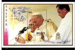 1986   Belize, Pâques, BF 66**, Cote 18 €,  S.S.le Pape Jean-Paul II Disant La Messe - Belize (1973-...)