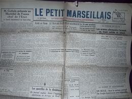 Guerre,JOURNAL LE PETIT MARSEILLAIS,24 Juillet 1943 Nouvelles Marseille, Legion, S.T.O, Music Hall Yves Montand - Kranten