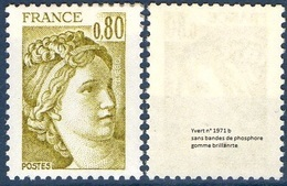 France Sabine De Gandon N° 1971 B ** Variété -> Le 0.80 Fr. Jaune Olive - Gomme Brillante Sans Phosphore - 1977-81 Sabine De Gandon