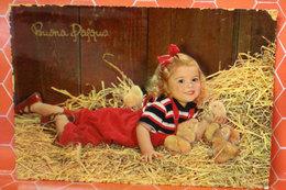 Buona Pasqua Auguri Bambina Con Pulcini Cartolina 1956 - Ostern