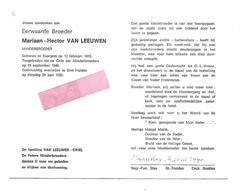 P 800. E.Broeder M. VAN LEEUWEN - Minderbroeder - °EVERGEM 1915 / +ST-TRUIDEN 1990 - Images Religieuses
